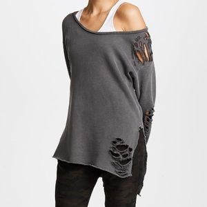 NSF Petite Gray Destroyed Nellie Long Sleeved Tee
